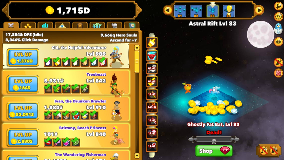 Clicker Heroes: 100% Achievements Save in 1 Minute