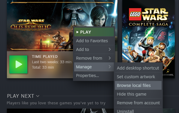 STAR WARS: The Old Republic How to Transfer Folder to Steam Without Reinstalling