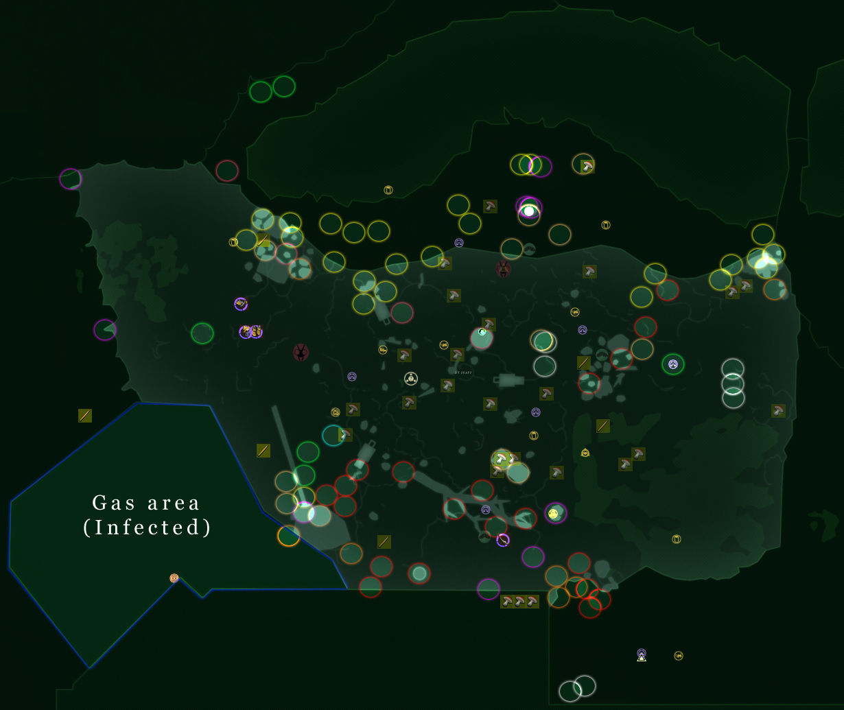 Grounded Full Map with Location Marks (Spider, Bugs, Mites, Grubs, Infected)