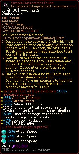 Chronicon Oriental Desecrator - 1 handed Face tanking Warlock (Endless 100+ )