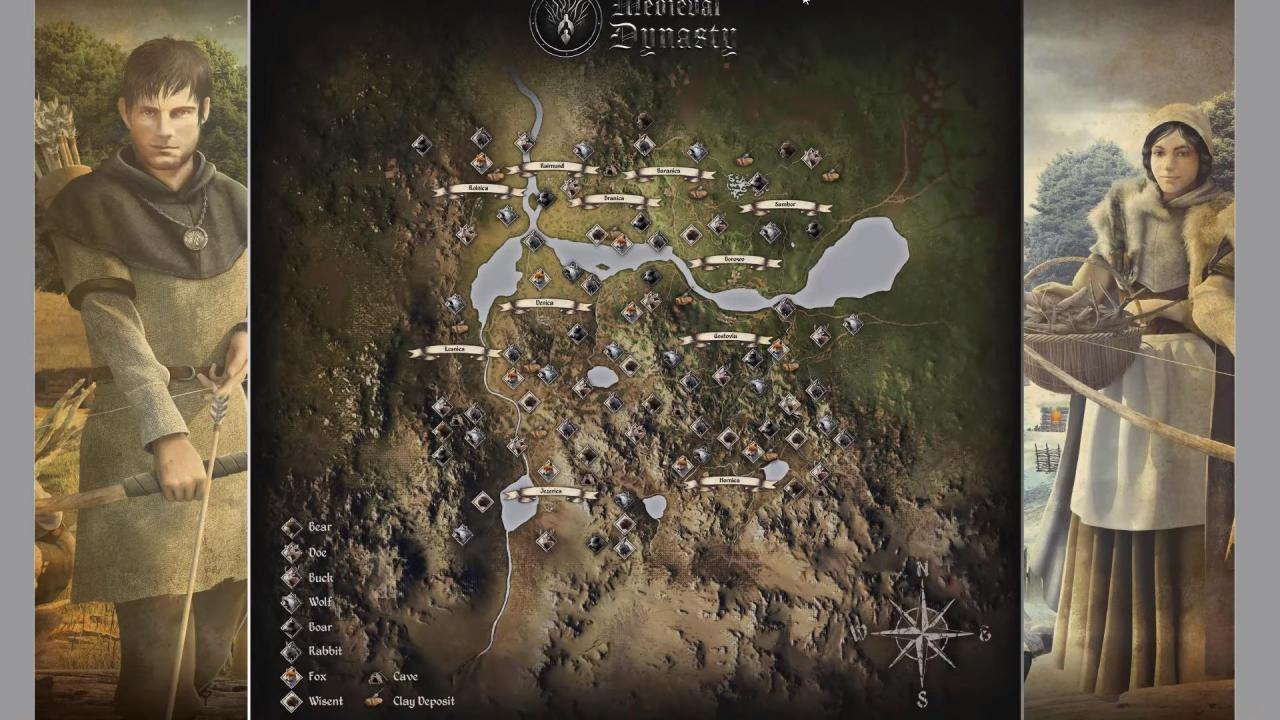 Medieval Dynasty All Resource & Animal Locations Map