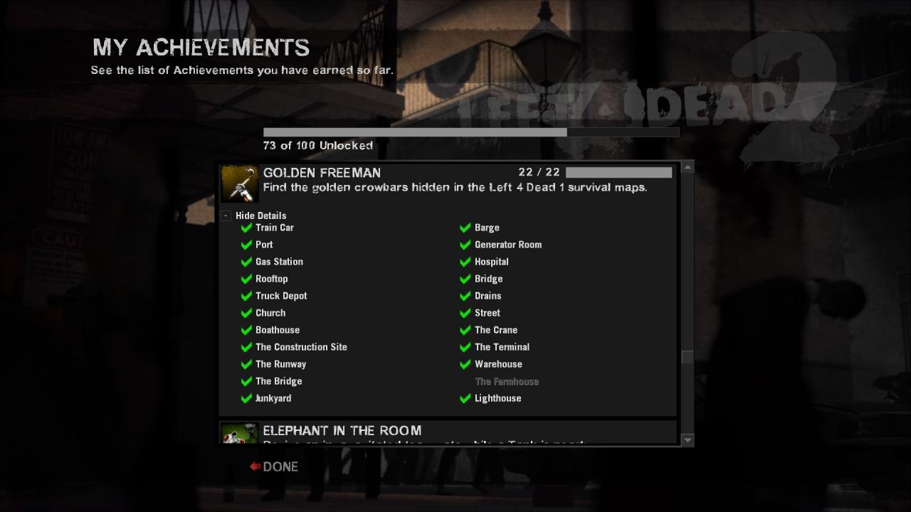 Left 4 Dead 2 All Golden Freeman Locations