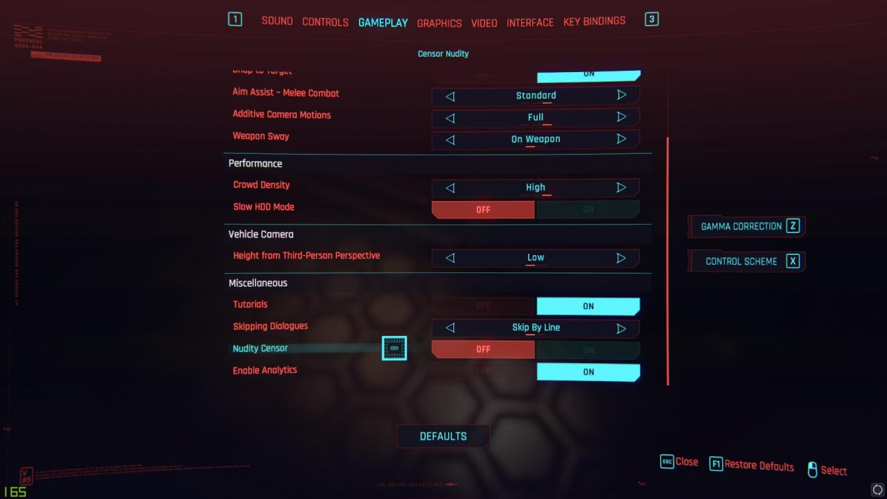 Cyberpunk 2077 How to Enable the Tab in Misc for Censor Nudity