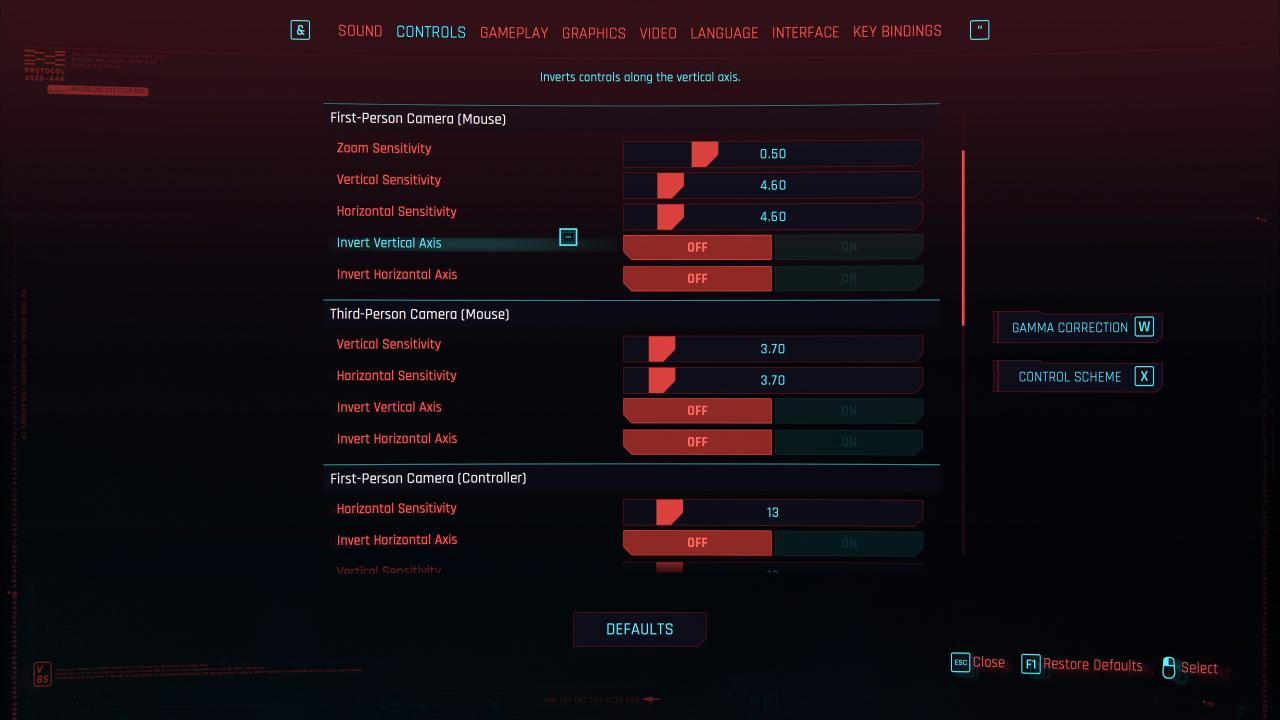 Cyberpunk 2077 Mouse Sensitivity and Fov Sliders Guide