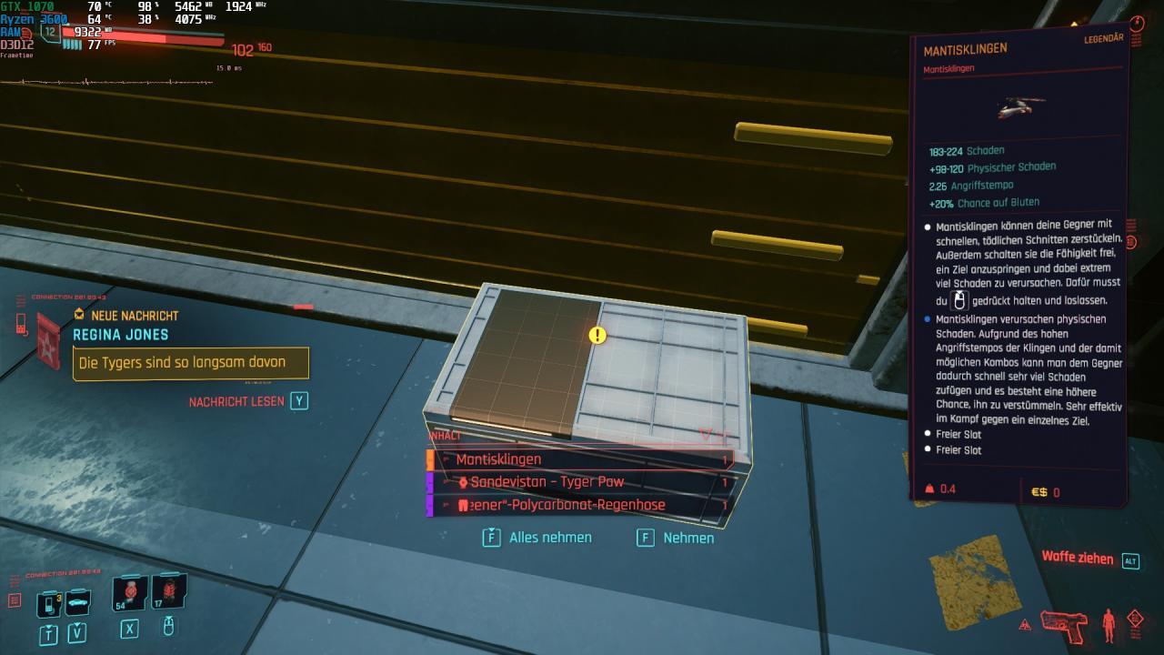 Cyberpunk 2077 Free Legendary Mantis Blades