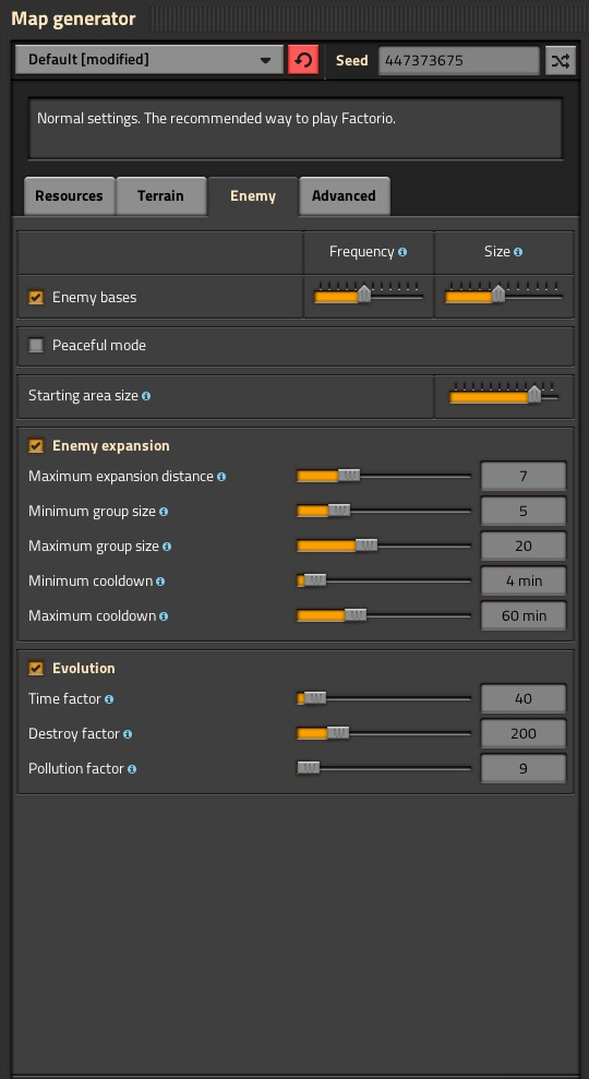 Factorio Map Settings for New Player