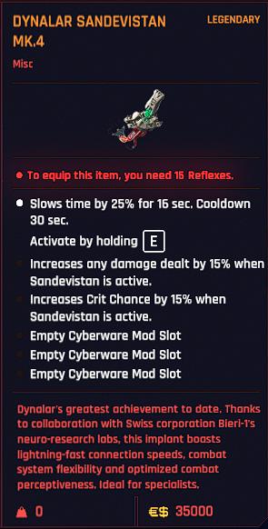Cyberpunk 2077 Legendary Cyberware & Trade Items Guide