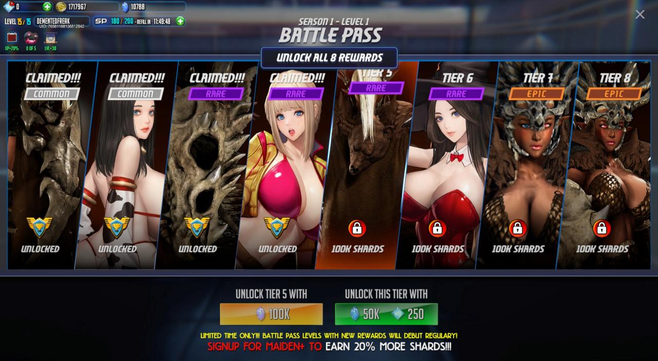 League of Maidens Collecting Shards and the Battle Pass Guide