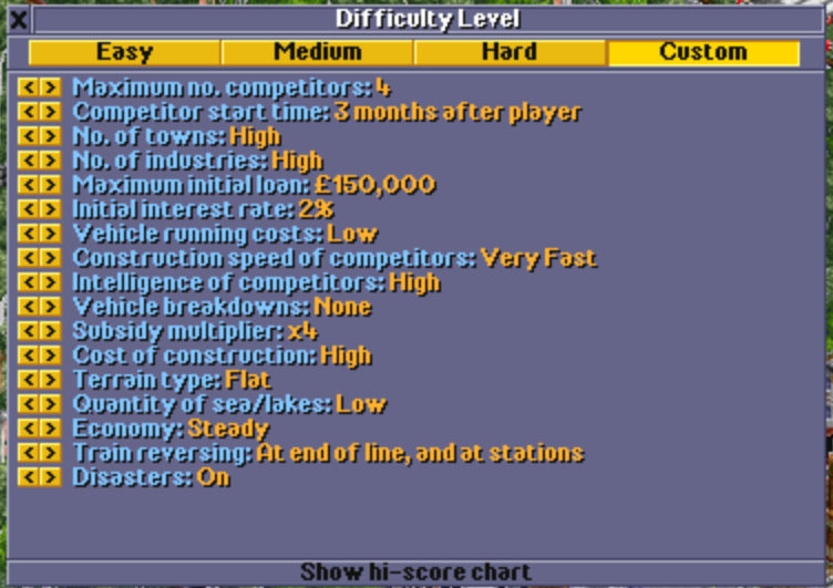 OpenTTD Nostalgia 1995 Mode AI & Game Settings