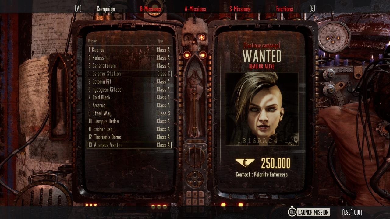 Necromunda: Hired Gun Full A Save File (All Missions Ranked A)