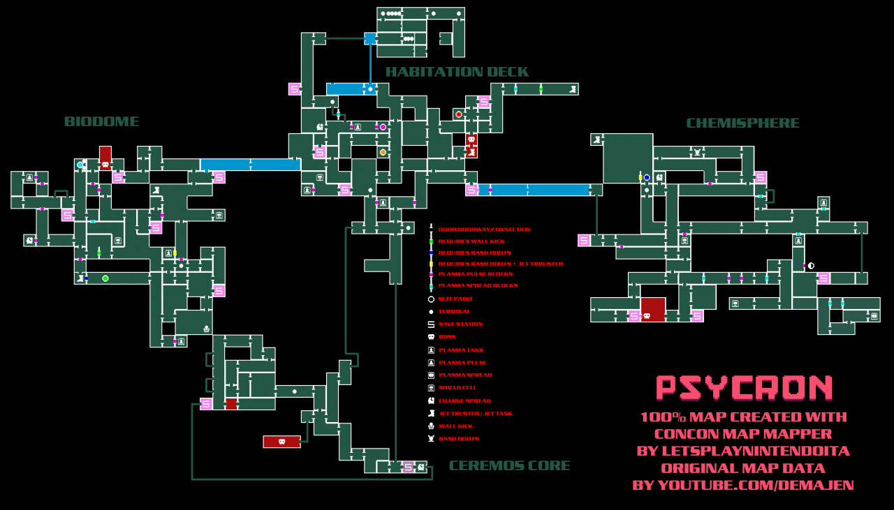 PSYCRON Complete Map with All Items and Secrets