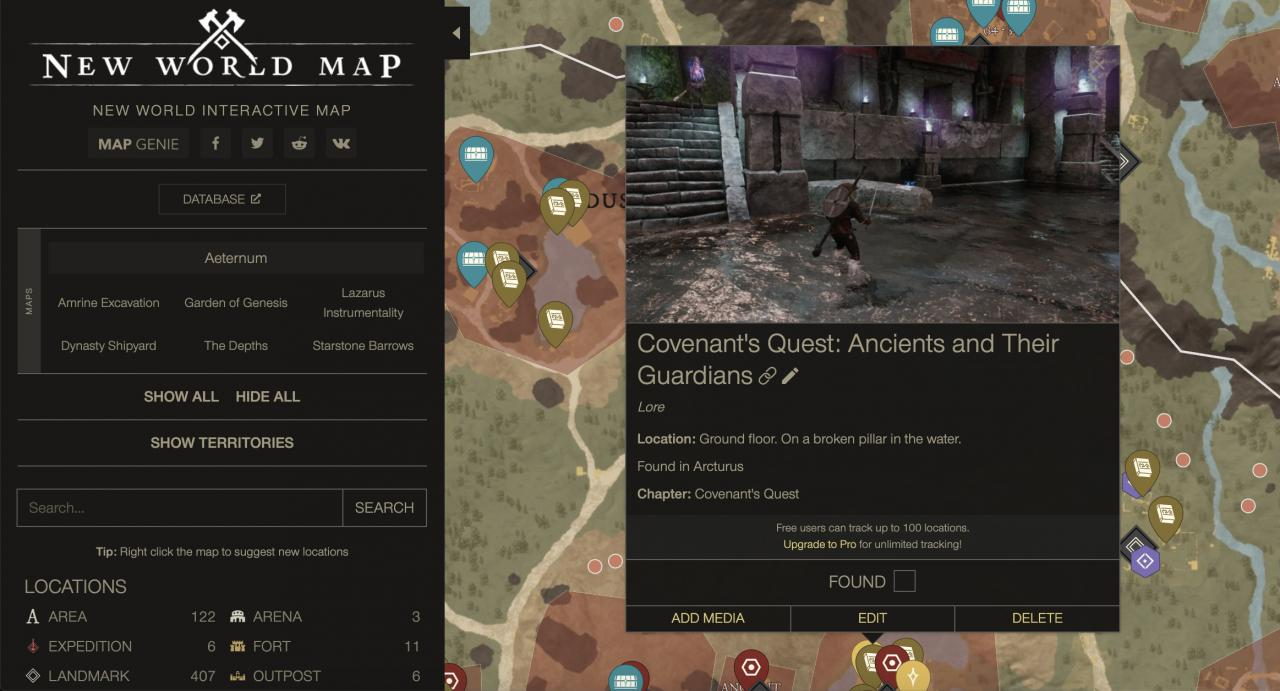 New World Interactive Map (All Lore, Resources, Enemies, Animals, Motes, Expeditions)
