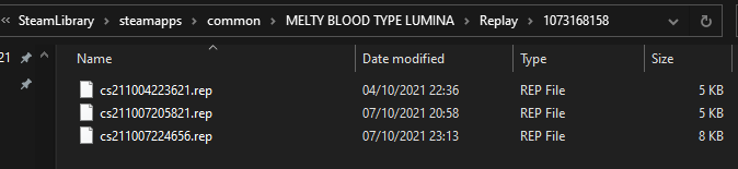 MELTY BLOOD: TYPE LUMINA Replays Folder Location Guide